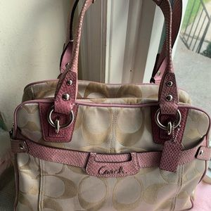 Coach pink and tan purse 13 x 9